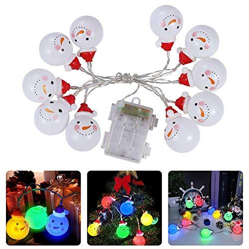 LUNSY Weihnachtebaumschmuck Weihnachten Lichterketten 10 LEDs farbig Schneemann Lichterketten für Thanksgiving, Garten Weihnachtebaum
