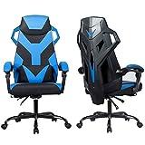 RELAX4LIFE Gaming Stuhl Computerstuhl, Schreibtischstuhl mit Massagefunktion & 5 Rädern, winkeleintstellbarer PC Stuhl 90°-135°, höhenverstellbarer Bürostuhl mit Kopfstütze & Lendenkissen (Blau)