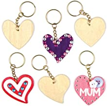 Baker Ross Heart Wooden Keyrings for Children to Design Paint and Decorate for Valentine's or Mother's Day (Pack of 8)
