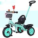 HJFGIRL Triciclos Bebes 1 Año Bici 3 en 1 Plegable Bicicletas Estaticas BH con Rueda Inflable de Espuma EVA Puede Soportar 35kg Adaptar a Parques, Caminos de Grava, Playas, Viajes,Green