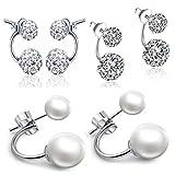 Yumilok- Juego de Pendientes de Plata de Ley 925 de Doble Perla de Cristal y Circonitas, Hipoalergénicos para Mujeres Chicas, Set de 3 Pares