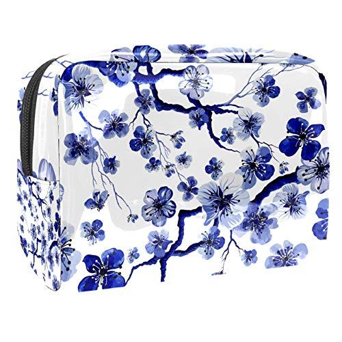 Tragbare Make-up-Tasche mit Reißverschluss, Reise-Kulturbeutel für Frauen, praktische Aufbewahrung, Kosmetiktasche, blaue Blumen, chinesische Tinte, Pflaume