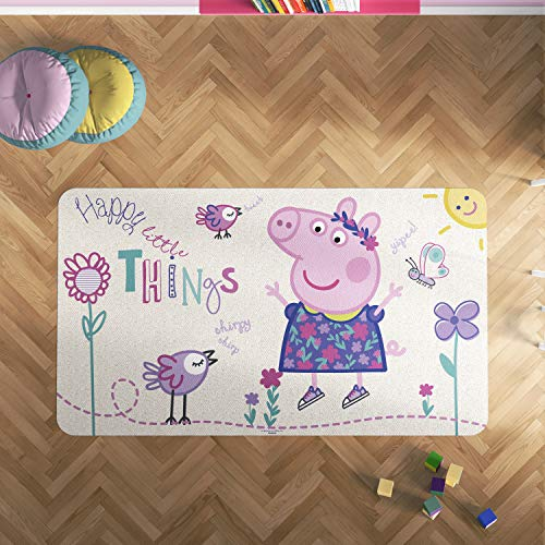 Oedim Alfombra PVC Peppa Pig Flores   95 x 95 cm   Producto Oficial y Original   Suelo vinílico   Decoración del Hogar   Peppa Pig  