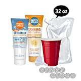 Cruise Flask Hidden Flask - Sunscreen and Tanning Lotion Set - Includes 2 8oz Tubes, Funnel, 10 Seals, and 1 Free 32oz (Sunscreen and Tanning Lotion Set)