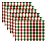 Urban Villa, 100% Cotton Fused Place Mats, Christmas Special,14''x 20'' Over Sized,Set of 6 Red/Green/White Buffalo Check Plaid, Every Day Use,Heavier Quality