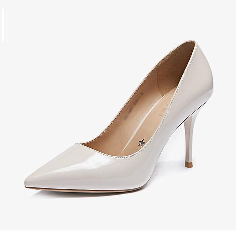 JIANXIN Damen Feine Fersen Und High Heels Und Und Spitzer Einzelner Schuhe Nackte Damenschuhe Frühling. (Farbe   Beige, Größe   35)  Marke