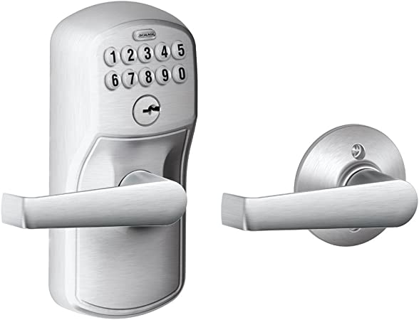 Schlage fe575 ply 626 ela plymouth keypad entry with auto-lock and elan levers, brushed chrome