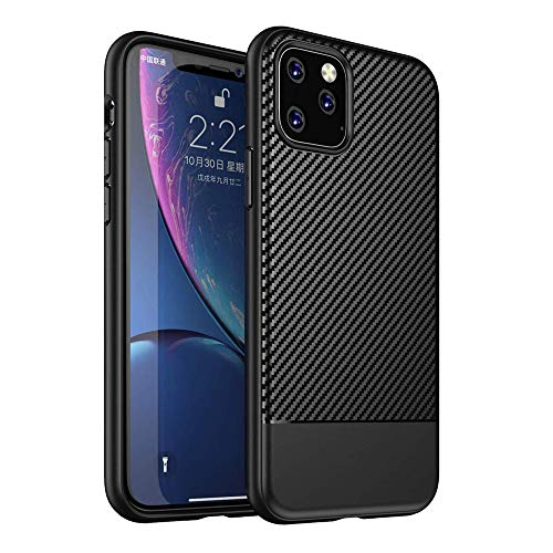 Best Shopper - Carbon Fiber Ultra Thin Soft Case Slim Flexible Silicone Protective Cover for Apple iPhone 11 Pro Max 6.5'' - Black