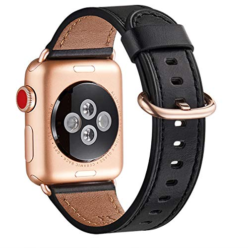 WFEAGL Compatible iWatch band 44mm 42mm, Top Grain Leather Band With Gold Adapter (the Same as Series 5/4/3 With Gold Aluminum Case in Color ) for iWatch SE & Series 6/5/4/3/2/1 (Black Band+RoseGold )