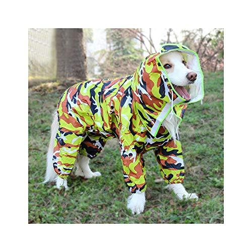 Hopereo Pet großer Hunderegenmantel im Freien Wasserdichten Kapuze Overall-Mantel für klein Big Dog Golden Retriever Labrador, Tarnung, 22