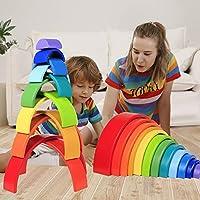 Lewo 12 Pezzi Impilatore Arcobaleno in Legno Gigante Puzzle di Annidamento Gioco di Impilamento Giocattoli Montessori in Legno Arch Building Blocks Giocattolo Educativo per Bambini Piccoli Maschietti #6