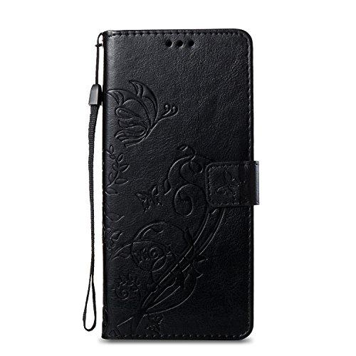 Unisnug Funda Xiaomi Mi A1 Libro, Funda Rigida para Xiaomi Mi A1 Book Cover Cartera Case Carcasas-Negro