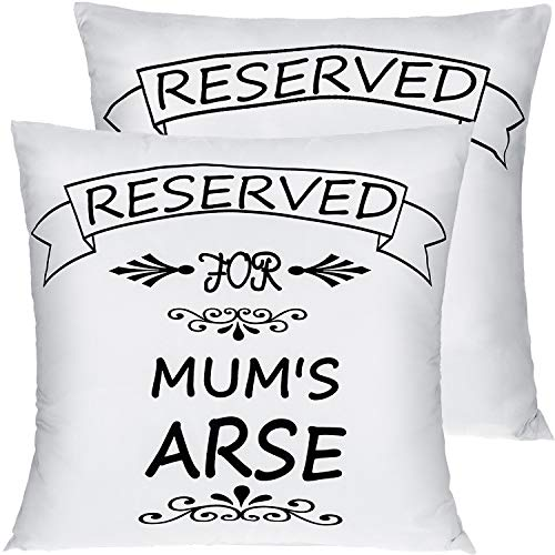 Boao 2 Pieces Reserved For Mum's Arse Cushion Cover Reserved For Dad's Arse Reserved Cushion Cover Parents Pillow Case Funny Novelty Gift for Mum Dad, 45 by 45 cm