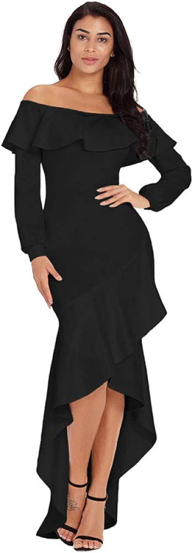 Dress for Women,Women Autumn Elegant Slash Neck Dress Burgundy Black Lantern Sleeve Asymmetric Ruffle Hem Party Dress