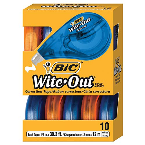 BIC Wite-Out Brand EZ Correct Correction Tape, White, 10-Count, Translucent Dispenser Shows How Much Tape is Remaining