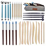 Augernis Polymer Clay Tools,28pcs Modeling Clay Sculpting Tools Set for Pottery Sculpture,Dotting Tools Ball Styluses for Rock Painting Cake Fondant Decoration