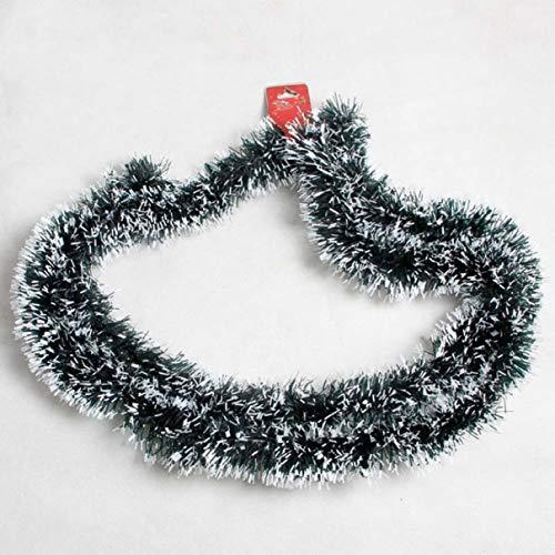XINGSd 200 cm Weihnachtsdekoration Barband Girlande Luftschlangen Weihnachtsbaum Ornamente weiß dunkelgrün Schilfrohr Lametta Party Zubehör (keine 7 cm weiße Spitze verzierte Borste 810)