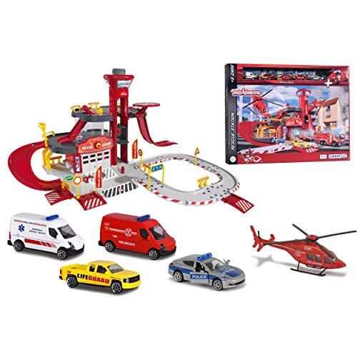 Majorette Creatix Rescue Station, Feuerwehrstation, Rettungsstation inkl. 4 Autos, inkl. 1 Spielzeughelikopter, 3 Etagen, Garage, große Parkgarage mit Aufzug, Rampen, 72x72x35 cm, ab 5 Jahren