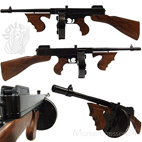 Denix Thompson M1 Mafia-MP Maschinenpistole, Trommel-Magazin, 1928 Metal Deko-Waffe