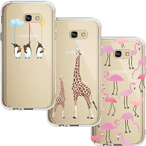 [3 Pack] Estuche Samsung Galaxy A5 2017, Blossom01 Estuche Protector de Silicona TPU Ultrafino y Suave con Dibujos Animados Lindo para Samsung Galaxy A5 2017 - Flamingo & Jirafa & Pingüino