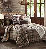 HiEnd Accents Huntsman Lodge Rustic Comforter Set, King, Brown, Cream, Green & Off White Plaid 4 PC