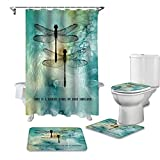LEO BON 4-teiliges Duschvorhang-Set mit Teppichen & Handtüchern & Zubehör Libelle, Love is a Nature Angel on your shoulder Durable Waterproof Shower Curtain Suit for Erwachsene and Kids