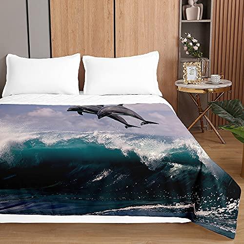 Oduo Colcha Bouti Cama de Verano, 3D delfín impresión Microfibra Cubrecama Multiusos Suave para Cama de Matrimonio, Lavable Acolchada Edredón Ligero Manta (navegar,100x150cm)