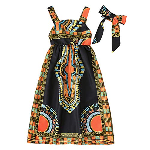 GRNSHTS African Dress for Toddler Girls Kids Baby Bohemian Strap Long Skirt One-Piece Summer Clothes with Headband (Black, 2 Years)