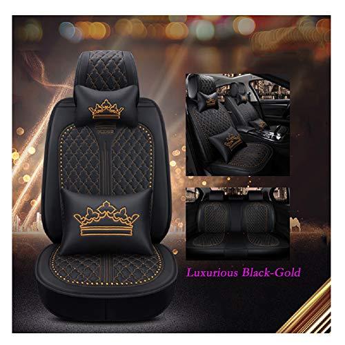 EverFabulous Luxus Auto Autositzbezüge 5 Sitze Full Set Universal Fit (Luxuriöses Schwarz-Gold)