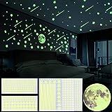 GOLDGE 1101 Pezzi Adesivi da Parete Fluorescenti, Stelle Fluorescenti, Pieno Luna, Meteora e Dots, DIY Decorazione a Parete per la Camera dei Bambini