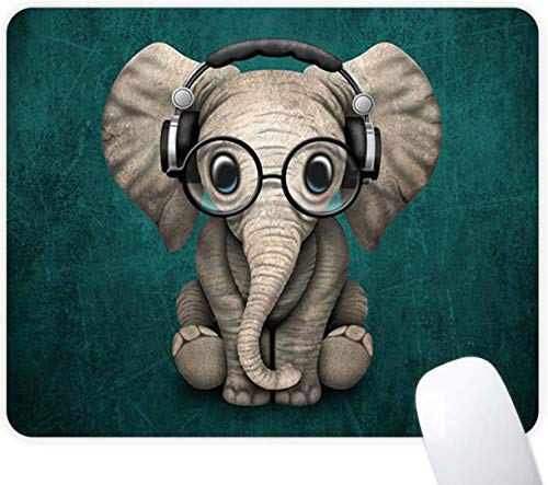 Mouse Pad Headset Music Elephant Pattern Cute Desk Mousepad Non-Slip Rubber Custom Computer Laptop Gaming Mouse Pad Rectangle Mouse Pads for Home and Office