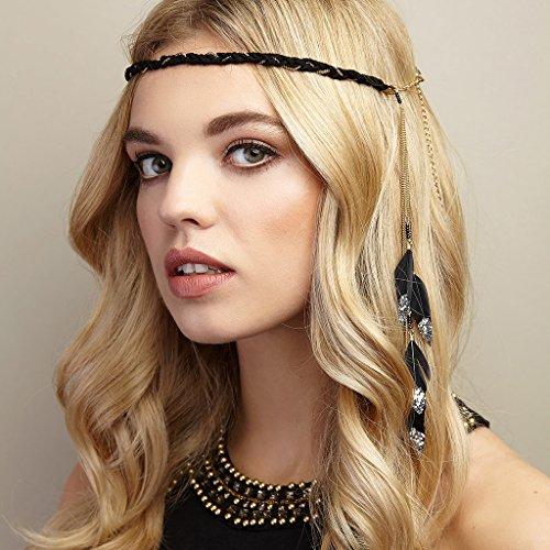 De color dorado diseño pluma banda cabeza banda cabeza