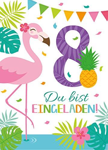 Junaversum 12 Einladungskarten zum 8. Geburtstag Kinder achte Kindergeburtstag Mädchen Flamingo