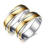 Bishilin Paarepreis Edelstahl Ringe Herren Hochglanzpoliert Vergoldet Breite 6MM Trauring Partner Gold Silber Ringe Paar Größe 60 (19.1) & Größe 67 (21.3)