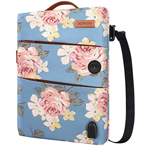 DOMISO 10,1-10,5 Zoll Wasserdicht Laptophülle mit USB Ladeanschluss & Headphone Port Laptop Tasche für 9.7