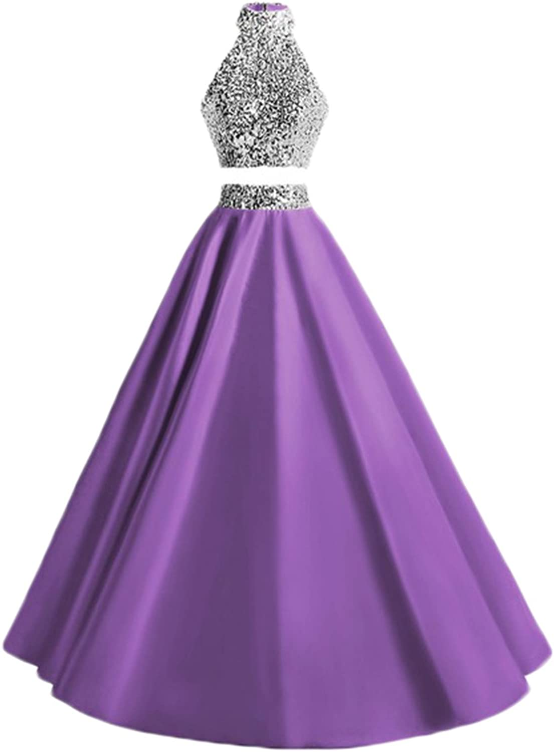 Alilith.Z Sexy Halter 2 Piece Prom Dresses Sequins Satin Long Formal Evening Dresses Party Gowns for Women