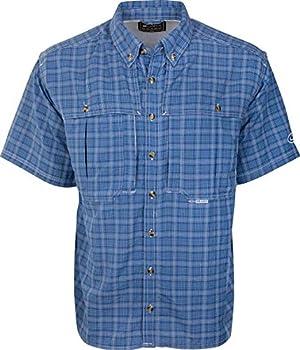 Drake Waterfowl Wingshooter s Plaid Sun Shirt S/S Cobalt XLarge