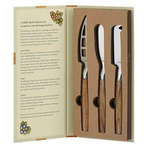 THUN  - Set 3 coltelli per Formaggi con Confezione a Libro - Linea Country - Acciaio Inox, Legno d'Acacia