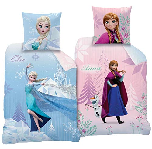 Familando CTI Wende Bettwäsche-Set Disney`s Eiskönigin 135x200cm + 80x80cm 100% Baumwolle 2 Motive Diamonds CTI