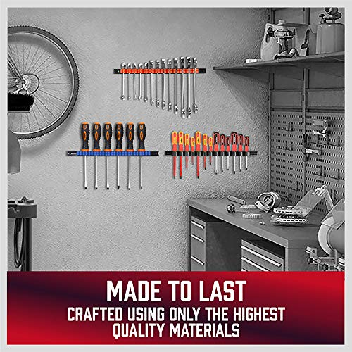 HORUSDY 4-Piece Screwdriver Organizer and Wrench Organizer, Hand Tool Holder with Clips