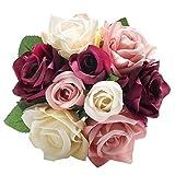 Chunqi Flores Artificiales, Flores de Seda Artificiales de 9 Cabezas Ramo de Novia para decoración de casa, jardín, Fiesta, Boda (Colores Variados)