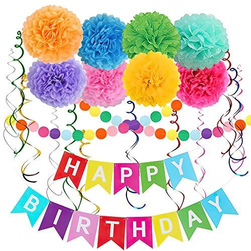 SKYIOL Geburtstagsdeko Bunt Mädchen Jungen Happy Birthday Girlande Set 16 Stück mit Mehrfarbig Happy Birthday Banner Papier Pompoms Dot Girlande Deckenhänger Spiral für Kinder Geburtstag Dekoration