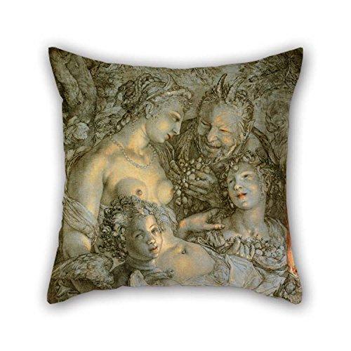 16 X 16 inch / 40 bij 40 cm olieverfschilderij Hendrick Goltzius, Nederlands (actief Haarlem) - Sine Cerere Et Libero Friget Venus (zonder Ceres en Bacchus, Venus zou bevriezen) kussenslopen 2 zijden Ornam