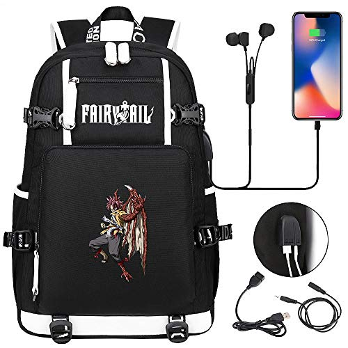 LKKOY Fairy Tail Travel Laptop Backpack, Work Bag Lightweight Laptop Bag with USB Charging Port, Anti Theft Business Backpack Anime Movie USB Backpack with Charging Port Black