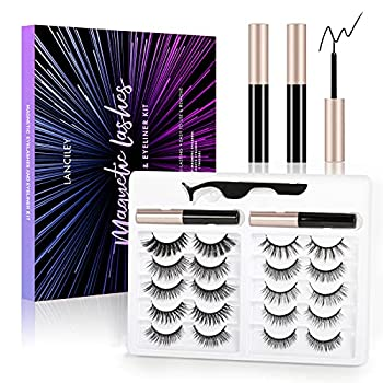 LANCILEY 5D Magnetic Eyelashes Kit Magnetic Eyeliner For Use with Magnetic False Lashes Natural Look-No Glue Needed Easy to Wear and Reusable 10 pairs.