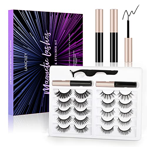 LANCILEY 5D Magnetic Eyelashes Kit Magnetic Eyeliner For Use with Magnetic False Lashes Natural Look-No Glue Needed Easy to Wear and Reusable, 10 pairs.