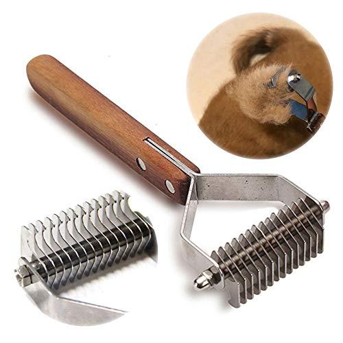 onebarleycorn -Perros Gatos Aseo Herramientas de demolición Rastrillos, rastrillo de Capa Inferior, peines con 14 Hojas