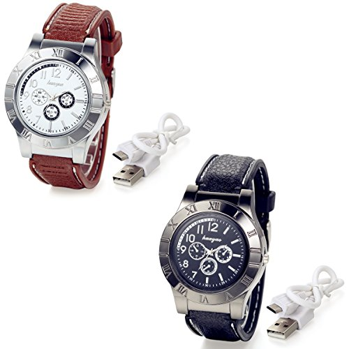 Lancardo Novelty Digital USB Cigarette Lighter Men Watches with 3 Sub-Dials, Windproof Flame Lighter (2PCS)