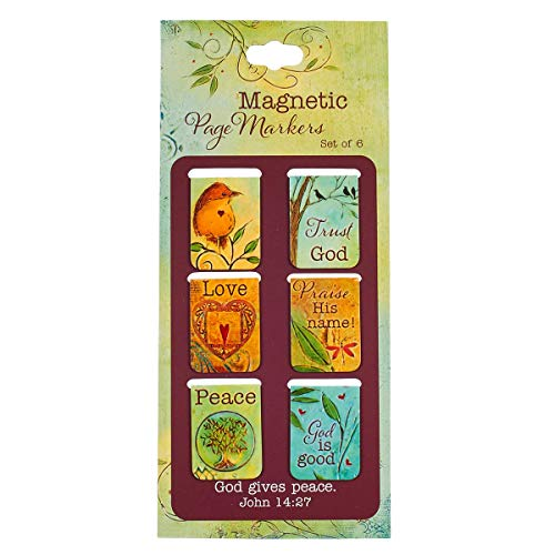 Christian Art Gifts Set of 6 Peace Love God Peaceful Thoughts Inspirational Magnetic Bible Verse Bookmark with Scripture, Size Extra Small 1' x .75'