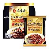 Paldo Fun & Yum Ilpoom Jjajangmen Noodles, Pack of 4, Traditional Brothless Chajang Ramen with Savory & Sweet Black Bean Sauce, Oriental Style Korean Ramyun, Soupless K-Food, 200g x 4